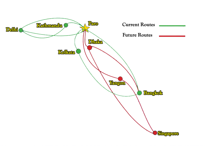 Route Map | Bhutan Airlines